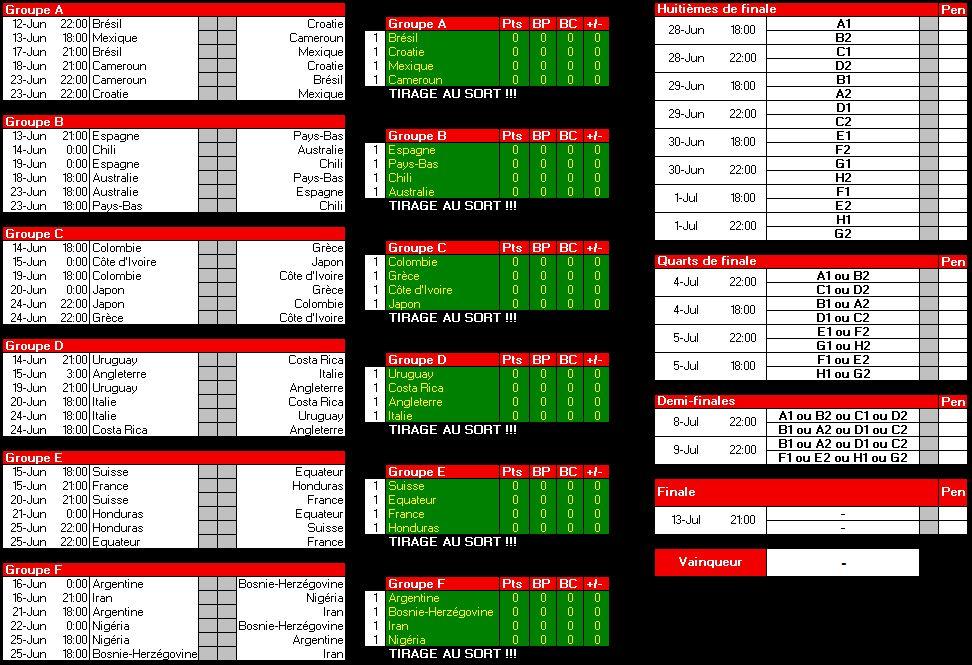 Resultat foot coupe du monde 2014 afrique - Tableau phase finale coupe du monde 2014 ...